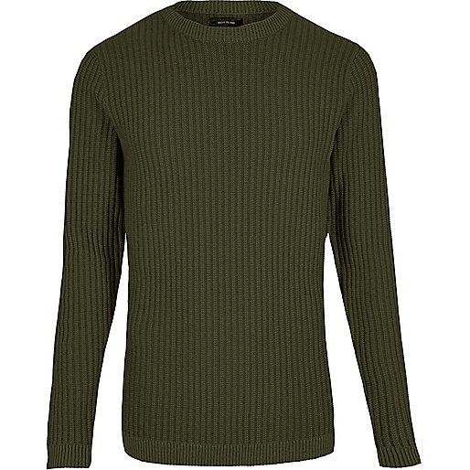 Dark green ribbed slim fit sweater