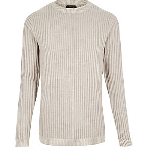 Ecru ribbed slim fit jumper