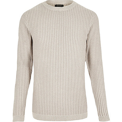 Ecru ribbed slim fit sweater