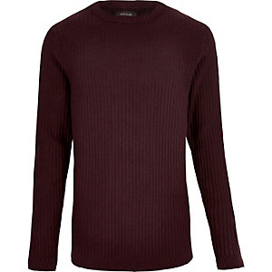 Dark red ribbed slim fit long sleeve T-shirt