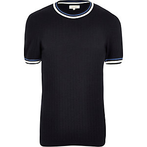 Navy tipped knitted ringer t-shirt
