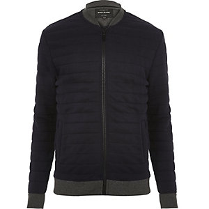 Navy quilted bomber jacket