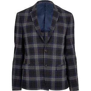 Blue plaid skinny cropped blazer