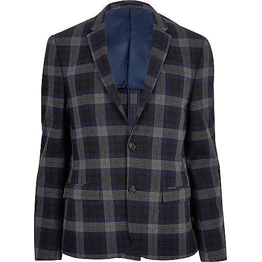 Blue tartan skinny cropped blazer