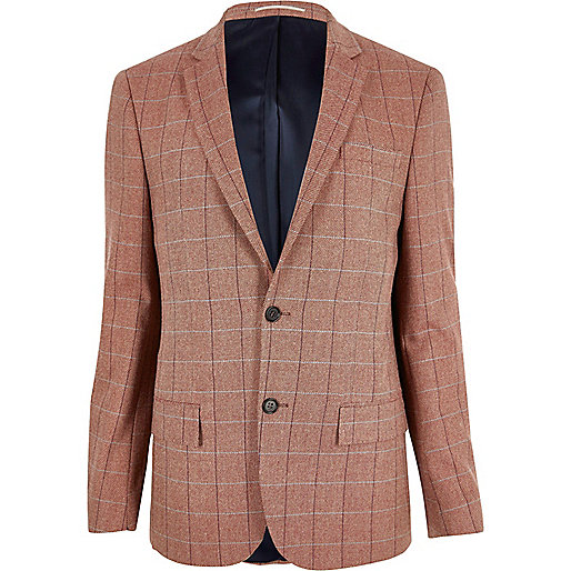 Pink checked slim fit blazer