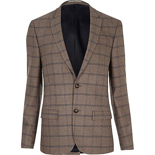 Ecru checked skinny suit jacket