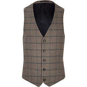 Ecru checked slim vest
