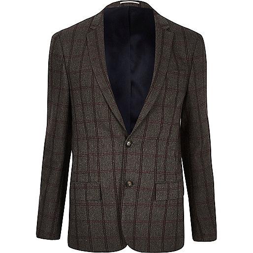 Veste de costume à carreaux grise coupe skinny