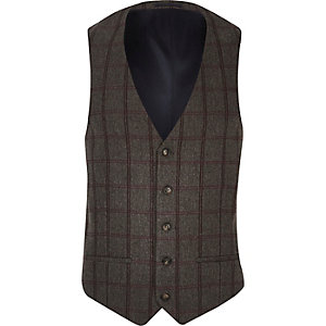 Grey checked slim fit vest
