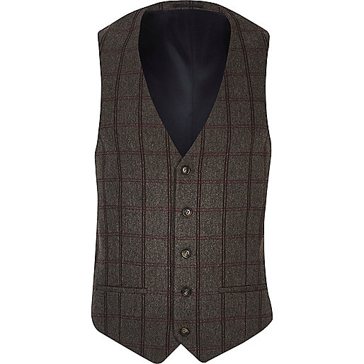 Grey checked slim fit waistcoat