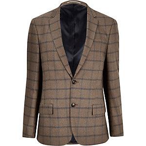 Ecru checked slim fit blazer