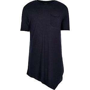 Navy draped asymmetric longline t-shirt