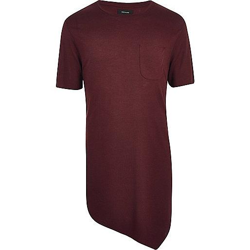 T-shirt bordeaux drapé asymétrique coupe longue