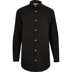 Black longline Oxford shirt