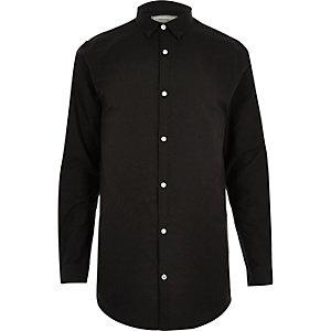 Black longline Oxford shirt