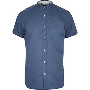 Blue twill grandad short sleeve shirt