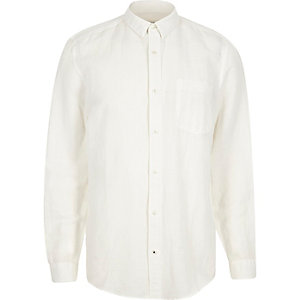 White relaxed fit linen-rich shirt
