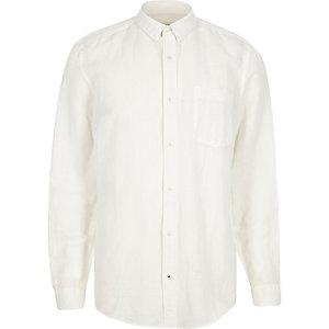 White relaxed fit linen-rich shirt
