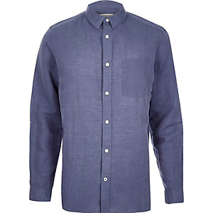 Blue relaxed fit linen-rich shirt