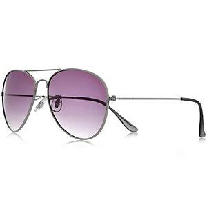 Silver aviator-style sunglasses