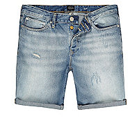 Light blue wash slim fit denim shorts