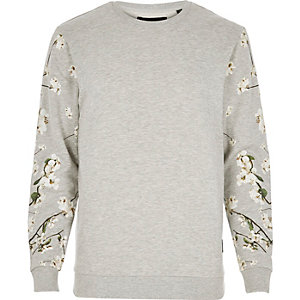 Light grey Only & Sons floral print sweater