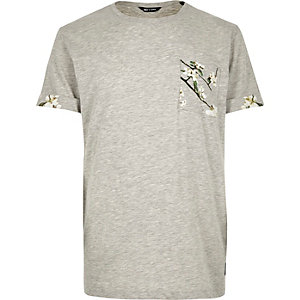 Only & Sons light grey pocket print t-shirt
