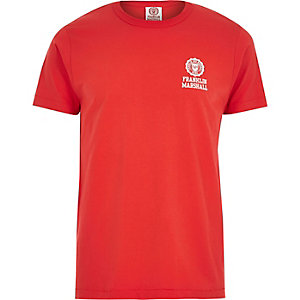 Red Franklin & Marshall logo print t-shirt