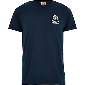 Navy Franklin & Marshall logo print t-shirt
