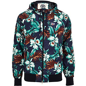 Blue Franklin & Marshall floral print jacket