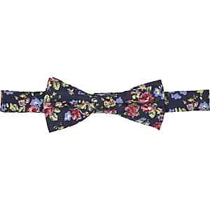 Navy floral print bow tie