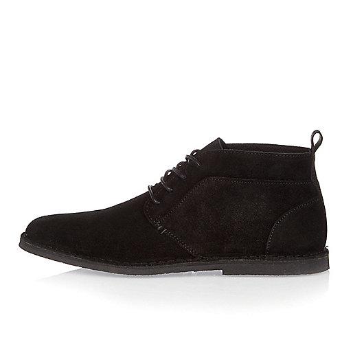 Black suede desert boots