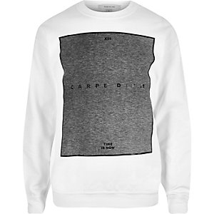 White carpe diem print sweatshirt