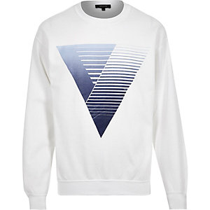 Blue triangle print sweatshirt