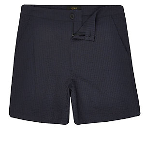 ADPT navy woven knee length shorts