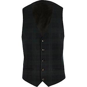 Green tartan slim waistcoat