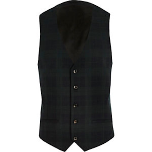 Green plaid slim vest