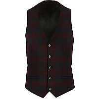 Red plaid slim vest