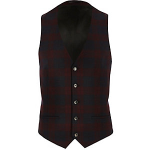 Red tartan slim waistcoat