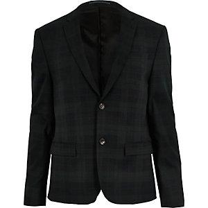 Green plaid skinny blazer