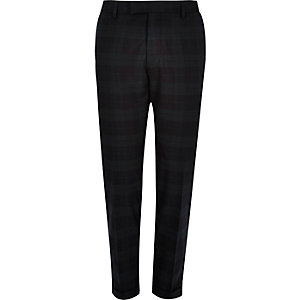 Green tartan skinny fit suit trousers