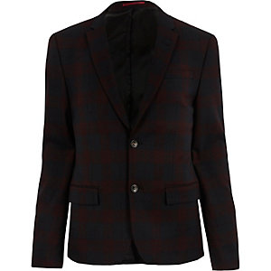 Red plaid skinny suit jacket