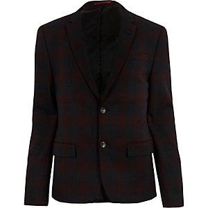 Red plaid skinny suit jacket