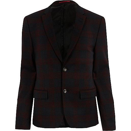 Veste de costume écossais rouge coupe skinny