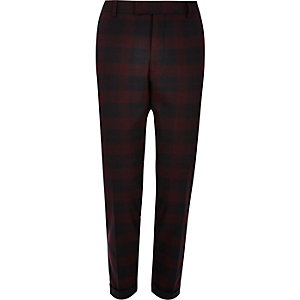 Red plaid skinny suit pants
