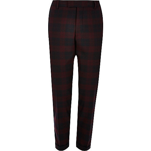 Red tartan skinny suit trousers
