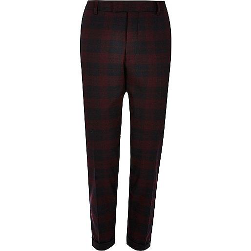 Pantalon de costume skinny à motif écossais rouge