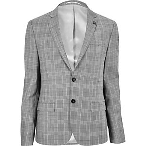 Ecru skinny fit suit jacket