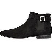 Black buckle strap Chelsea boots