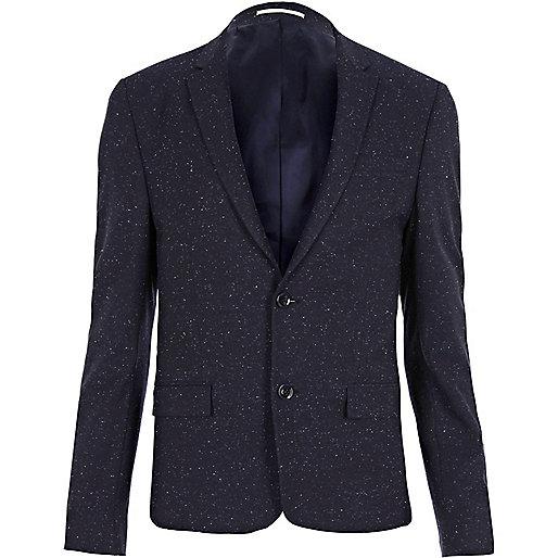 Blau melierte Anzugjacke in Skinny Fit